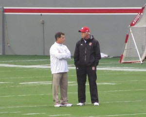 CJJ with NC State Head Coach Tom O'Brien during pre-game warm-ups