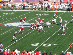 South Alabama's offense lines up against Mississippi State in front of a record-breaking crowd on September 13, 2014.