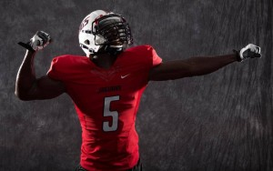 Another view of the new Red Jaguar Jersey's for the 2013 season with a possible new helmet design.