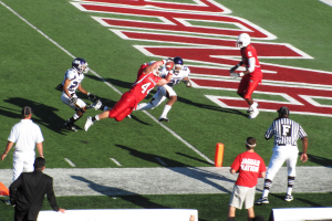 Paul Bennett diving for touchdown