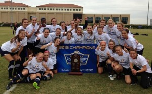 The University of South Alabama Women's Soccer team pose after wining their first-ever Sun Belt Conference Championship by defeating Western Kentucky 1-0 on Sunday in San Marcos, Texas. | sunbeltsports.org