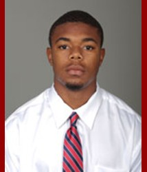 Maleki Harris, a senior from Cordova, Alabama, who forced two fumbles against Mississippi State and earned Defensive Player of the Week on Monday, September 15, 2014, was suspended for the first half of the Georgia State game. | Photo: usajaguars.com
