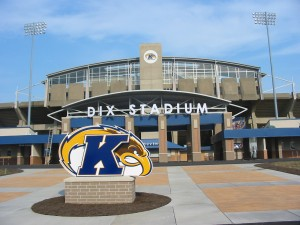 Kent State's Dix Stadium exterior with the Golden Flash logo on the sign. | Photo: tailgatershandbook.com
